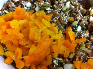 Lastly, I added some chopped dried apricots and mixed everything very well.