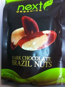 Dark chocolate-covered brazil nuts!