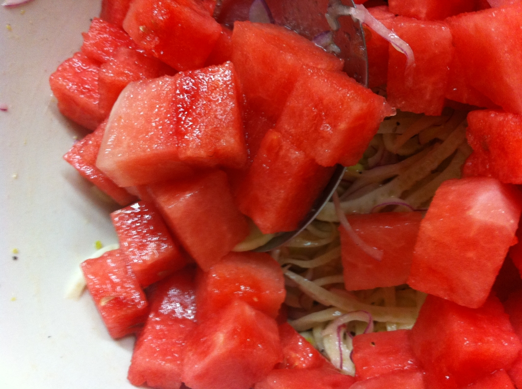 Then I added about 4 cups of cubed watermelon.