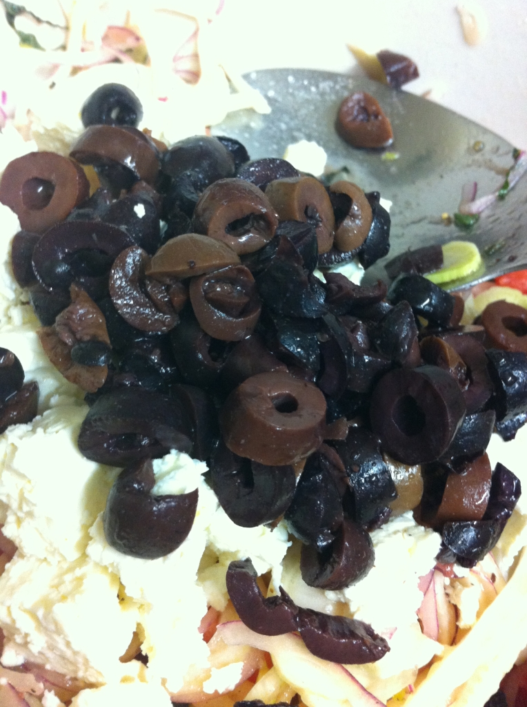 Then I added 1/4 cup sliced Kalamata olives.