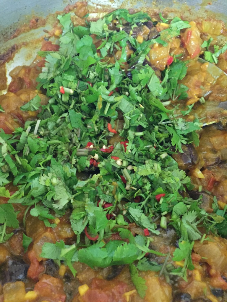 And also added 2 minced Thai bird chiles and 1/2 bunch of chopped cilantro.