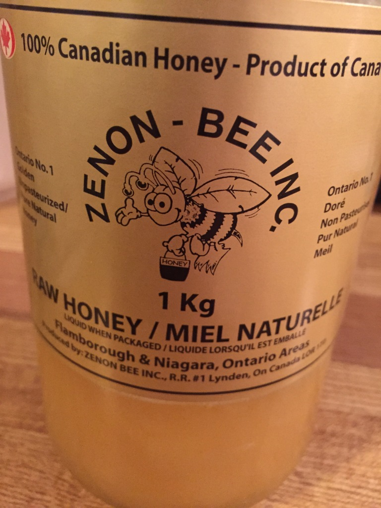 After 6 weeks, I strained out the solids and mixed the tincture with a couple of tablespoons of this raw honey.